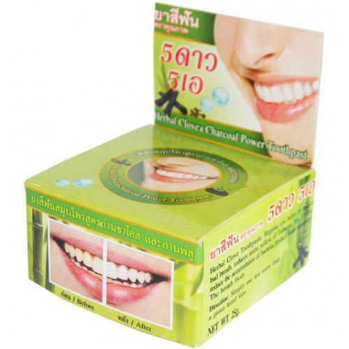 Тайская круглая зубная паста «Бамбуковый уголь+гвоздика+травы»,25 гр