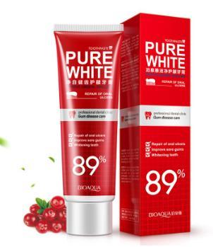 Отбеливающая зубная паста BioAqua Pure White со вкусом клюквы,100 гр.